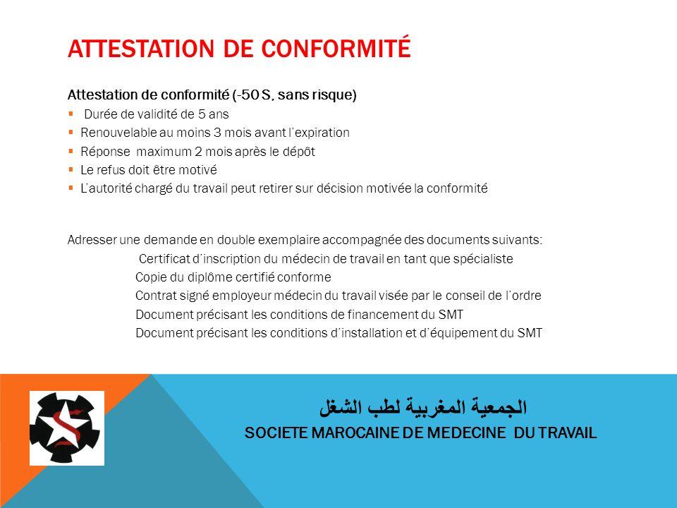 ATTESTATION DE CONFORMITÉ Attestation de conformité (-50 S, sans risque) Durée de validité de 5 ans Renouvelable au moins 3 mois avant lexpiration Rép