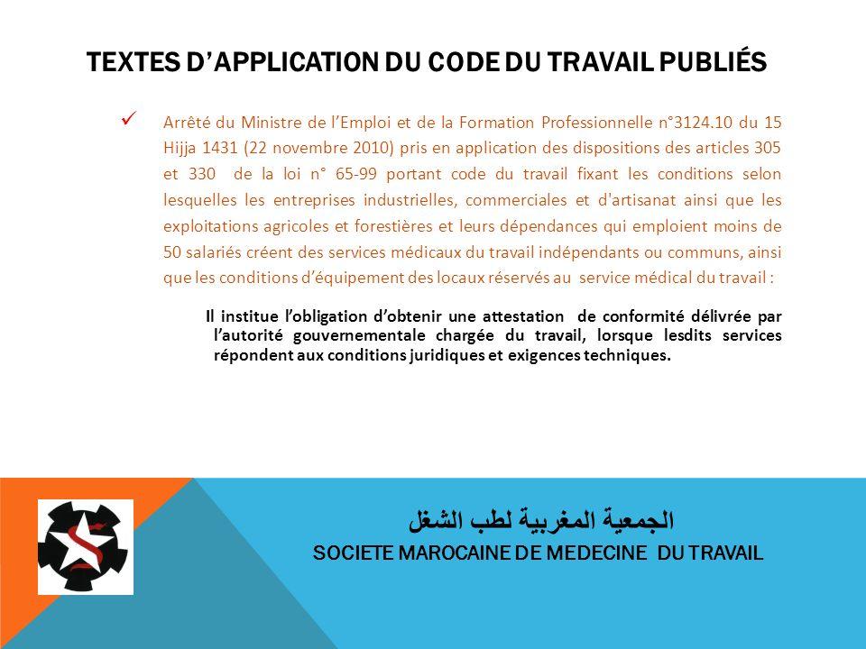 TEXTES DAPPLICATION DU CODE DU TRAVAIL PUBLIÉS Arrêté du Ministre de lEmploi et de la Formation Professionnelle n°3124.10 du 15 Hijja 1431 (22 novembr
