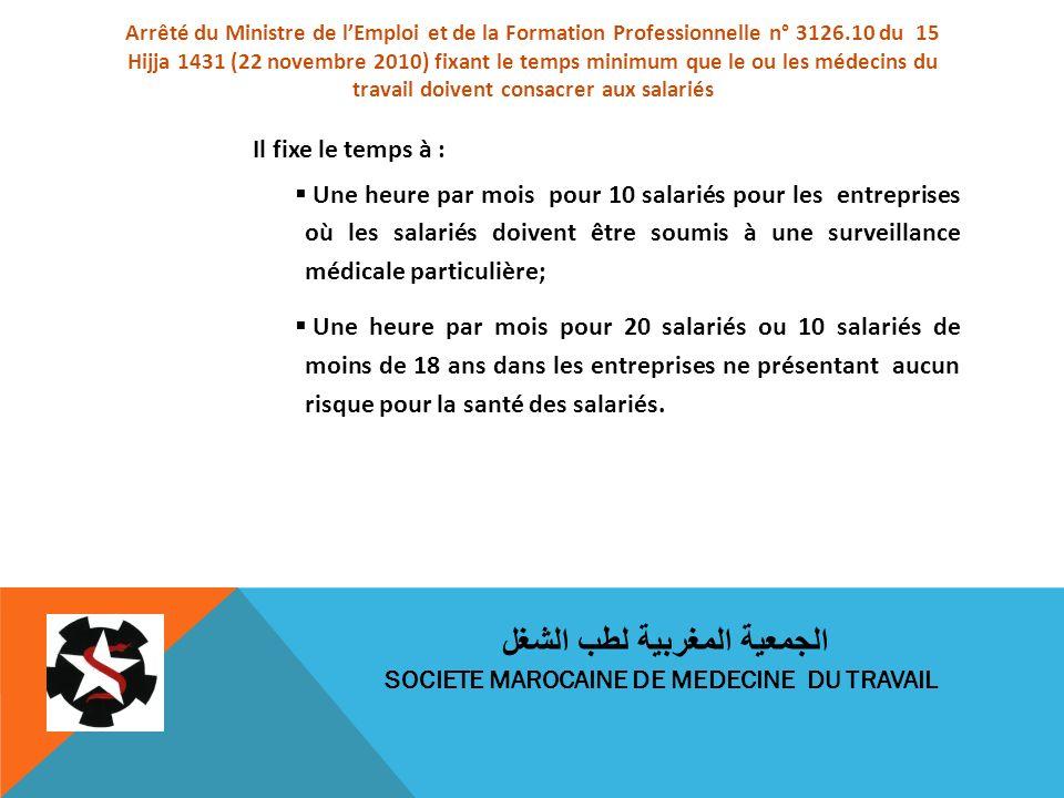 Arrêté du Ministre de lEmploi et de la Formation Professionnelle n° 3126.10 du 15 Hijja 1431 (22 novembre 2010) fixant le temps minimum que le ou les