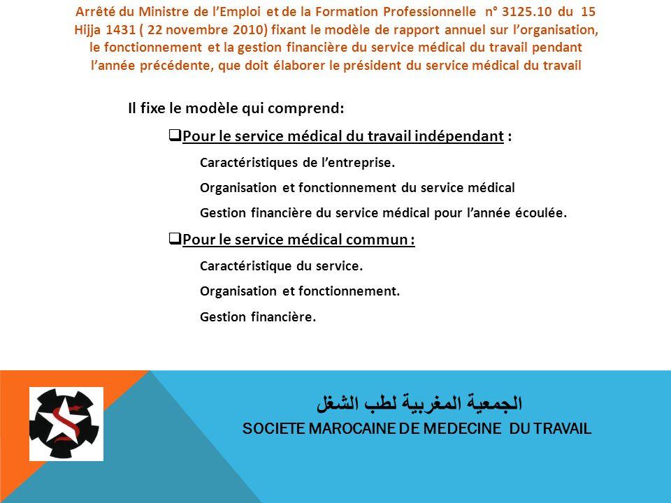 Arrêté du Ministre de lEmploi et de la Formation Professionnelle n° 3125.10 du 15 Hijja 1431 ( 22 novembre 2010) fixant le modèle de rapport annuel su