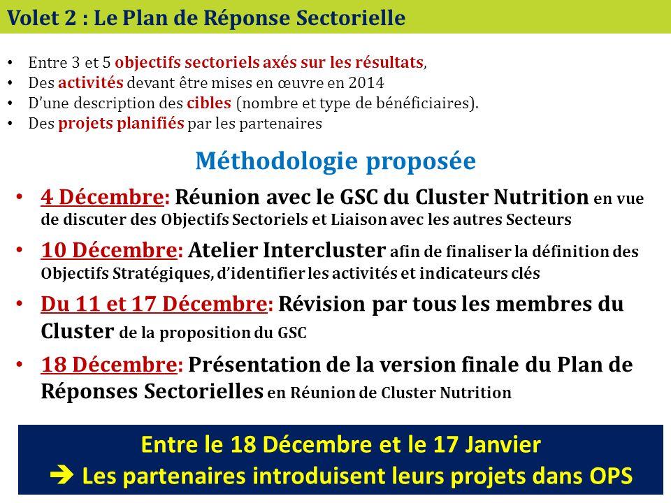 Volet 2 : Le Plan de Réponse Sectorielle Entre 3 et 5 objectifs sectoriels axés sur les résultats, Des activités devant être mises en œuvre en 2014 Dune description des cibles (nombre et type de bénéficiaires).