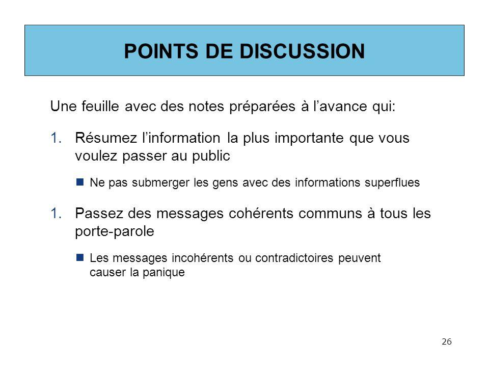ACTIVITE 3 – REDACTION DE POINTS DE DISCUSSION Consultez le document à distribuer.