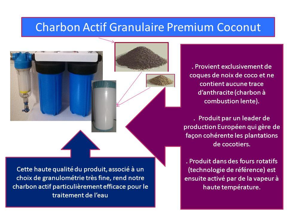 3° FILTRE : POLLUANTS CHIMIQUES Charbon Actif Granulaire Premium Coconut. Provient exclusivement de coques de noix de coco et ne contient aucune trace