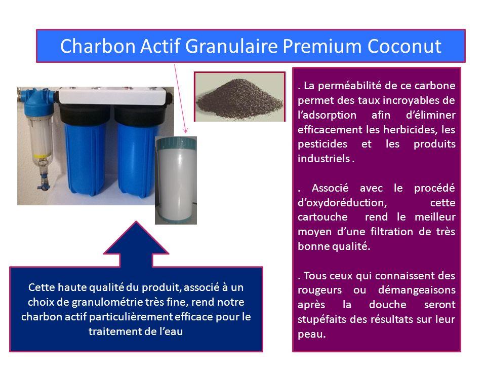 3° FILTRE : POLLUANTS CHIMIQUES Charbon Actif Granulaire Premium Coconut Cette haute qualité du produit, associé à un choix de granulométrie très fine