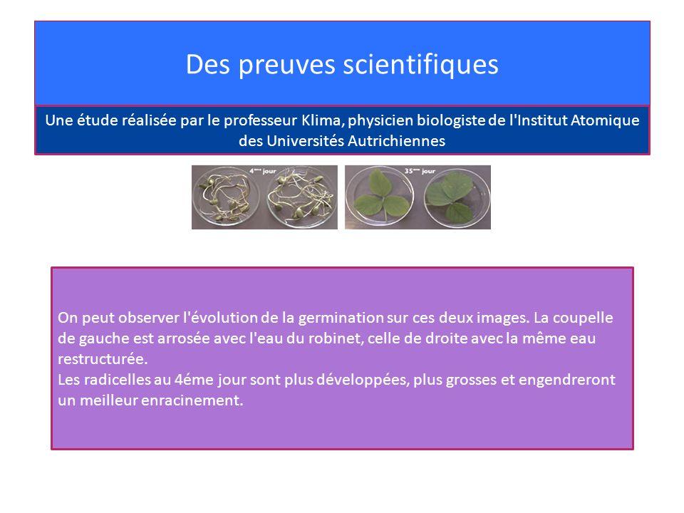 Des preuves scientifiques On peut observer l'évolution de la germination sur ces deux images. La coupelle de gauche est arrosée avec l'eau du robinet,