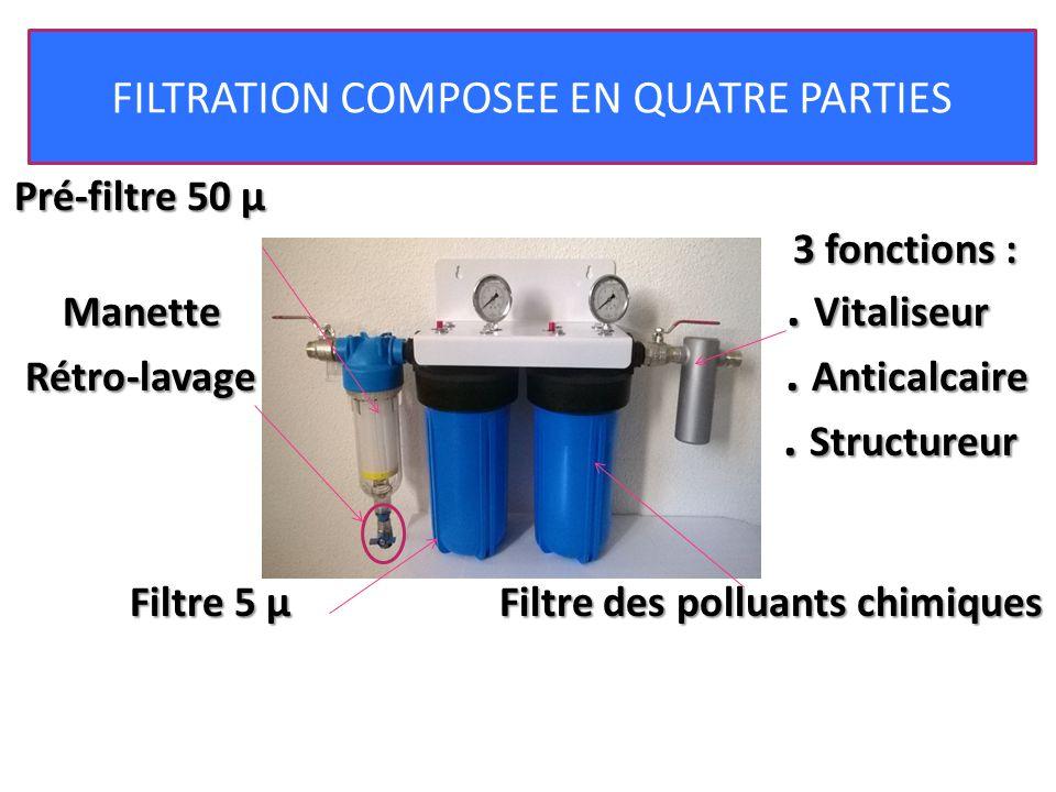 Pré-filtre 50 µ 3 fonctions : 3 fonctions : Manette. Vitaliseur Rétro-lavage. Anticalcaire. Structureur. Structureur Filtre 5 µ Filtre des polluants c
