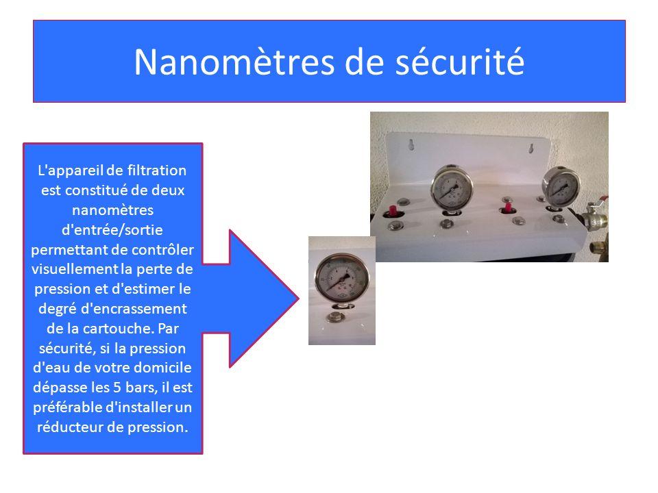 Nanomètres de sécurité L'appareil de filtration est constitué de deux nanomètres d'entrée/sortie permettant de contrôler visuellement la perte de pres