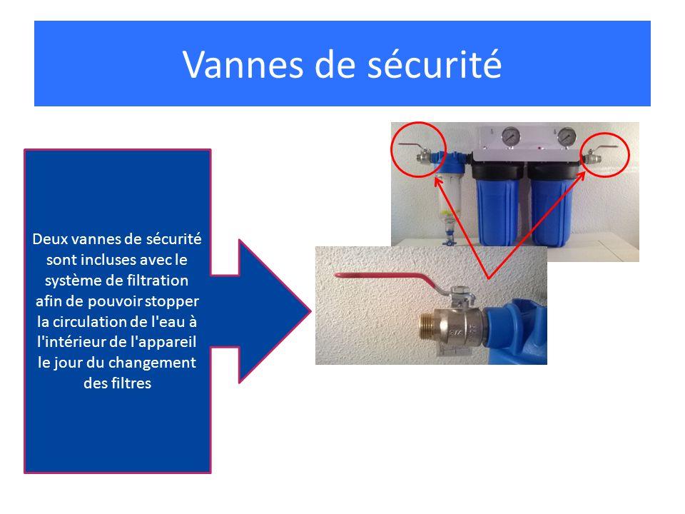 Deux vannes de sécurité sont incluses avec le système de filtration afin de pouvoir stopper la circulation de l'eau à l'intérieur de l'appareil le jou