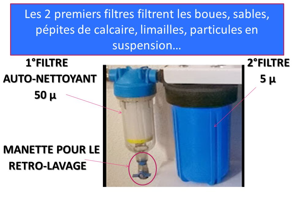 1°FILTRE 2°FILTRE AUTO-NETTOYANT5 µ AUTO-NETTOYANT 5 µ 50 µ MANETTE POUR LE RETRO-LAVAGE RETRO-LAVAGE Les 2 premiers filtres filtrent les boues, sable