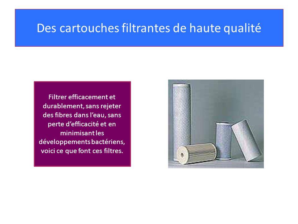 Des cartouches filtrantes de haute qualité Filtrer efficacement et durablement, sans rejeter des fibres dans leau, sans perte defficacité et en minimi