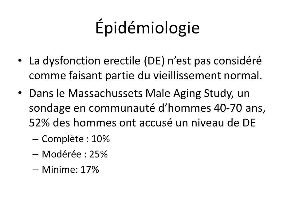 Épidémiologie La dysfonction erectile (DE) nest pas considéré comme faisant partie du vieillissement normal. Dans le Massachussets Male Aging Study, u