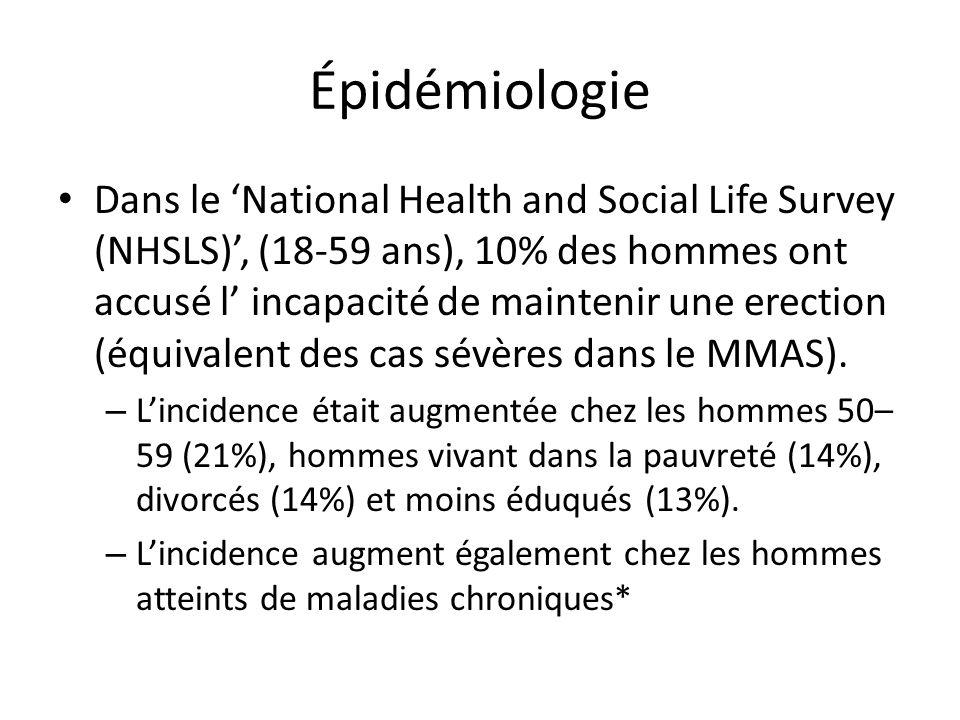 Épidémiologie Dans le National Health and Social Life Survey (NHSLS), (18-59 ans), 10% des hommes ont accusé l incapacité de maintenir une erection (é