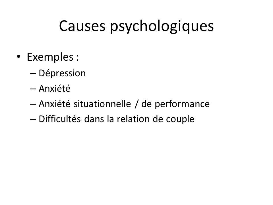 Causes psychologiques Exemples : – Dépression – Anxiété – Anxiété situationnelle / de performance – Difficultés dans la relation de couple