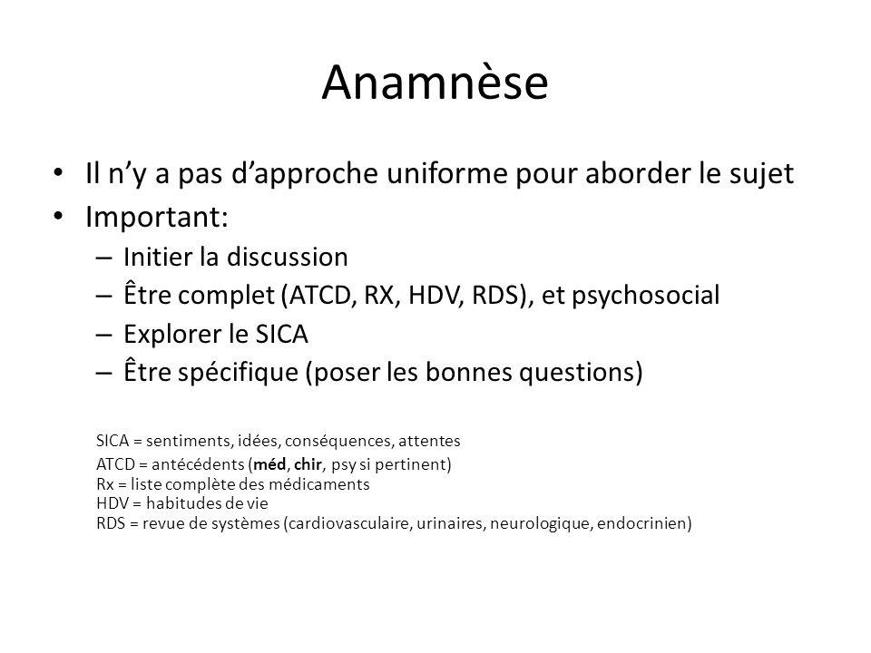 Anamnèse Il ny a pas dapproche uniforme pour aborder le sujet Important: – Initier la discussion – Être complet (ATCD, RX, HDV, RDS), et psychosocial