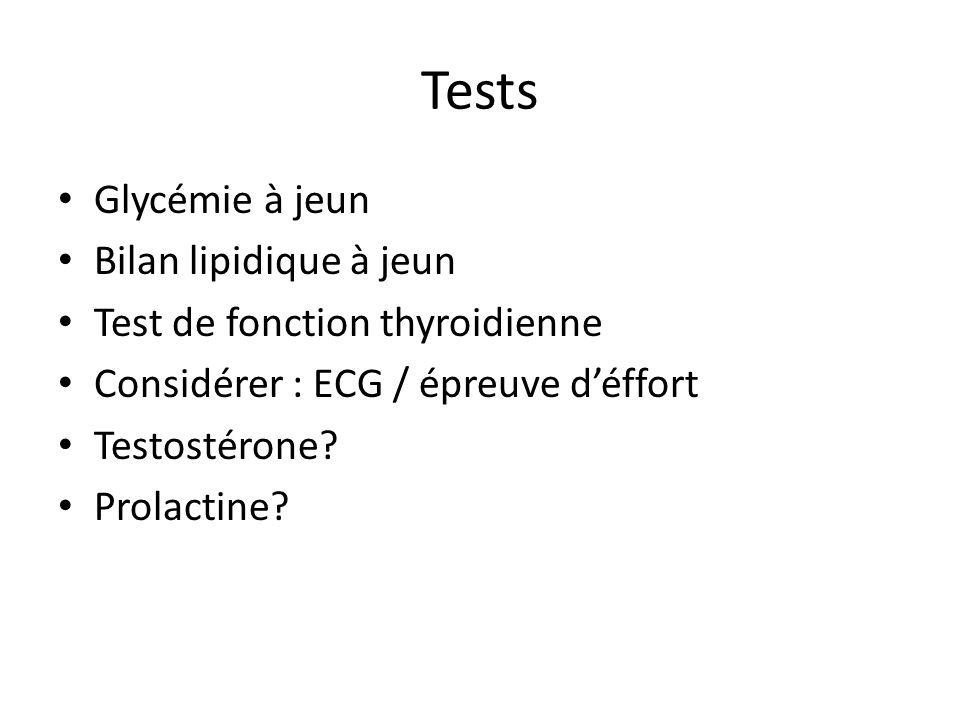 Tests Glycémie à jeun Bilan lipidique à jeun Test de fonction thyroidienne Considérer : ECG / épreuve déffort Testostérone? Prolactine?
