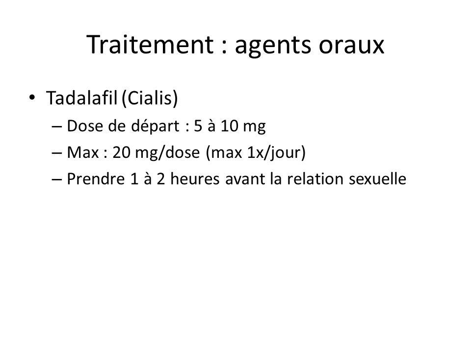 Tadalafil (Cialis) – Dose de départ : 5 à 10 mg – Max : 20 mg/dose (max 1x/jour) – Prendre 1 à 2 heures avant la relation sexuelle Traitement : agents