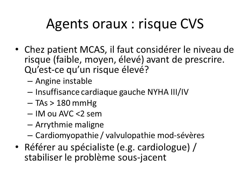 Chez patient MCAS, il faut considérer le niveau de risque (faible, moyen, élevé) avant de prescrire. Quest-ce quun risque élevé? – Angine instable – I