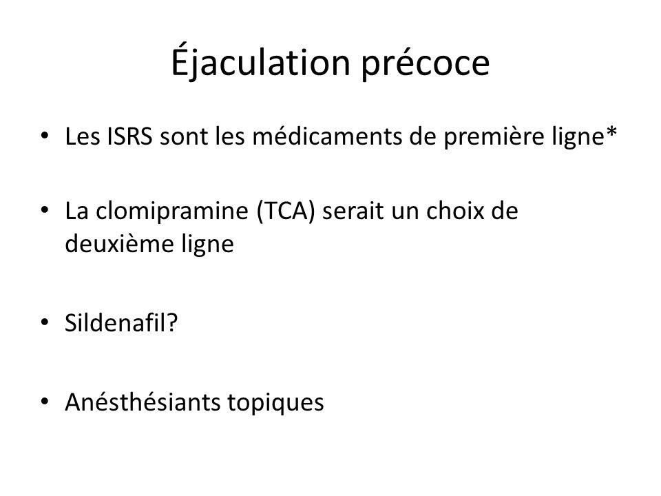 Éjaculation précoce Les ISRS sont les médicaments de première ligne* La clomipramine (TCA) serait un choix de deuxième ligne Sildenafil? Anésthésiants