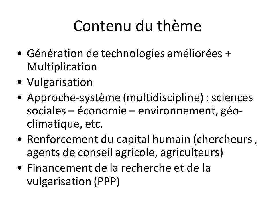 Contenu du thème Génération de technologies améliorées + Multiplication Vulgarisation Approche-système (multidiscipline) : sciences sociales – économi