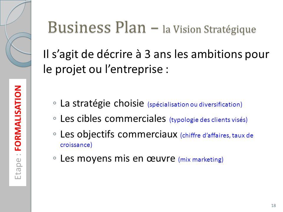 Business Plan – la Vision Stratégique Il sagit de décrire à 3 ans les ambitions pour le projet ou lentreprise : La stratégie choisie (spécialisation o