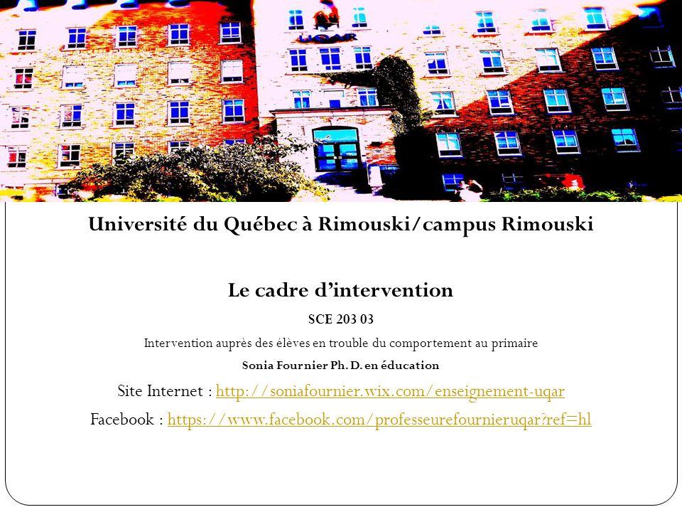 Problématiques scolaires liées à linadaptation Université du Québec à Rimouski/campus Rimouski Le cadre dintervention SCE 203 03 Intervention auprès des élèves en trouble du comportement au primaire Sonia Fournier Ph.
