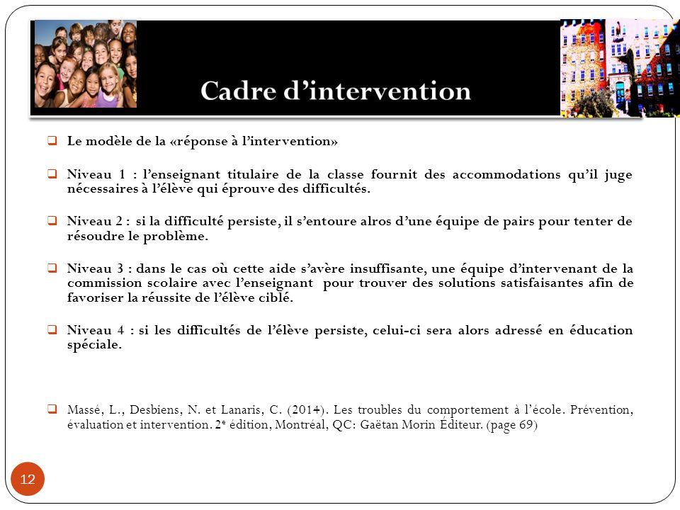 12 Le modèle de la «réponse à lintervention» Niveau 1 : lenseignant titulaire de la classe fournit des accommodations quil juge nécessaires à lélève q