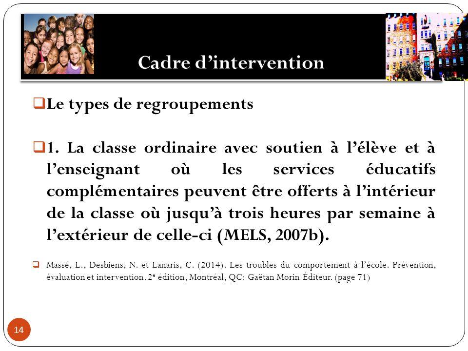 14 Le types de regroupements 1. La classe ordinaire avec soutien à lélève et à lenseignant où les services éducatifs complémentaires peuvent être offe