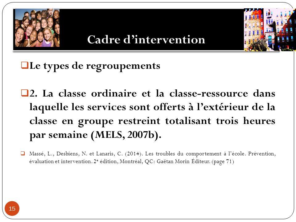 15 Le types de regroupements 2. La classe ordinaire et la classe-ressource dans laquelle les services sont offerts à lextérieur de la classe en groupe