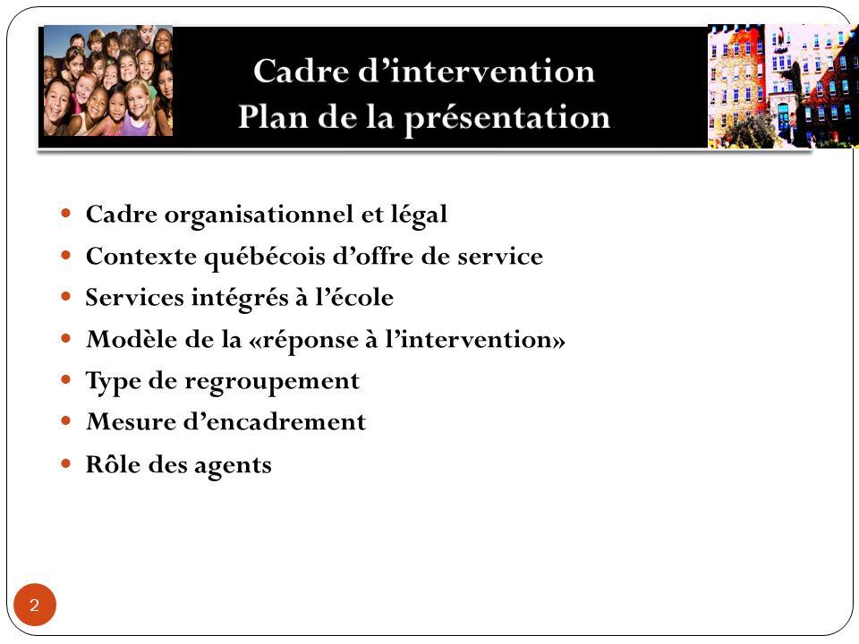 2 Cadre organisationnel et légal Contexte québécois doffre de service Services intégrés à lécole Modèle de la «réponse à lintervention» Type de regroupement Mesure dencadrement Rôle des agents