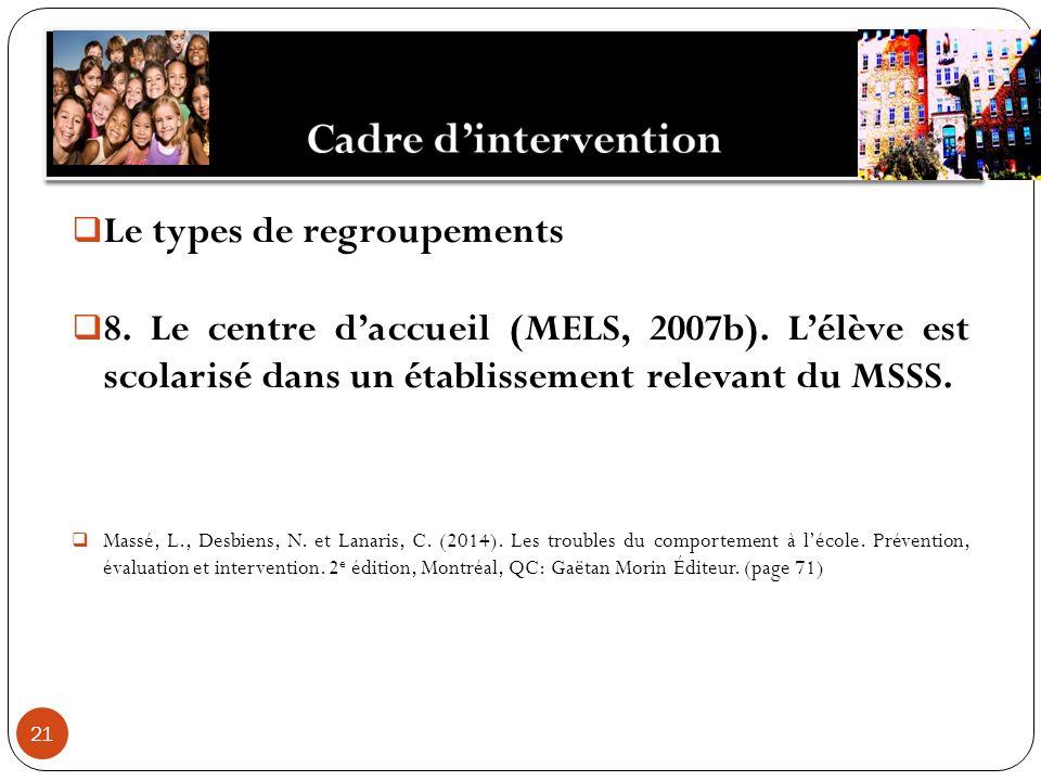 21 Le types de regroupements 8. Le centre daccueil (MELS, 2007b).