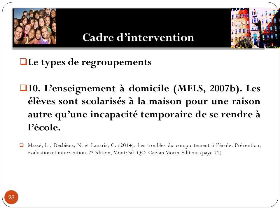 23 Le types de regroupements 10. Lenseignement à domicile (MELS, 2007b).