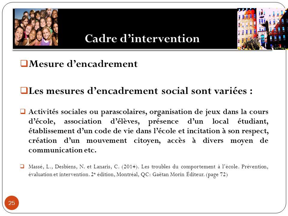 25 Mesure dencadrement Les mesures dencadrement social sont variées : Activités sociales ou parascolaires, organisation de jeux dans la cours décole,
