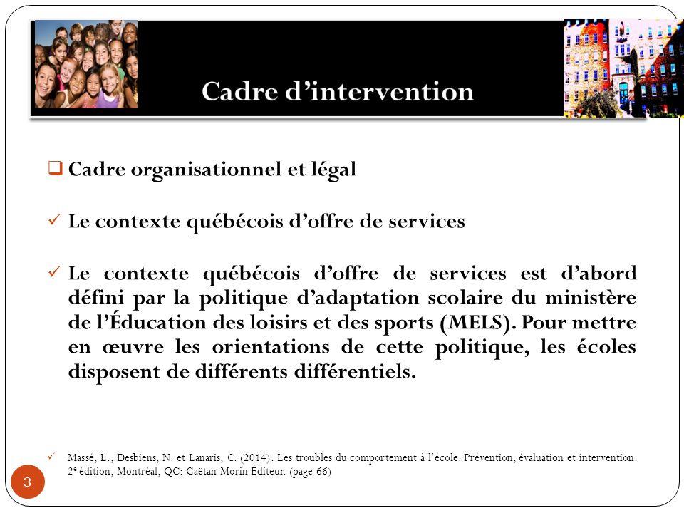 3 Cadre organisationnel et légal Le contexte québécois doffre de services Le contexte québécois doffre de services est dabord défini par la politique