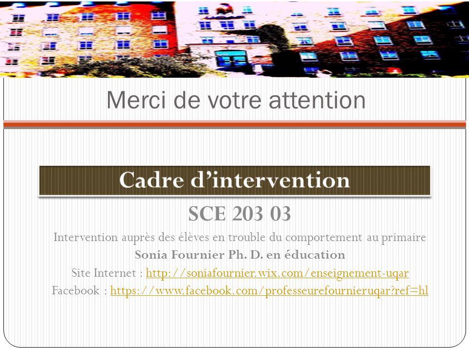 SCE 203 03 Intervention auprès des élèves en trouble du comportement au primaire Sonia Fournier Ph. D. en éducation Site Internet : http://soniafourni