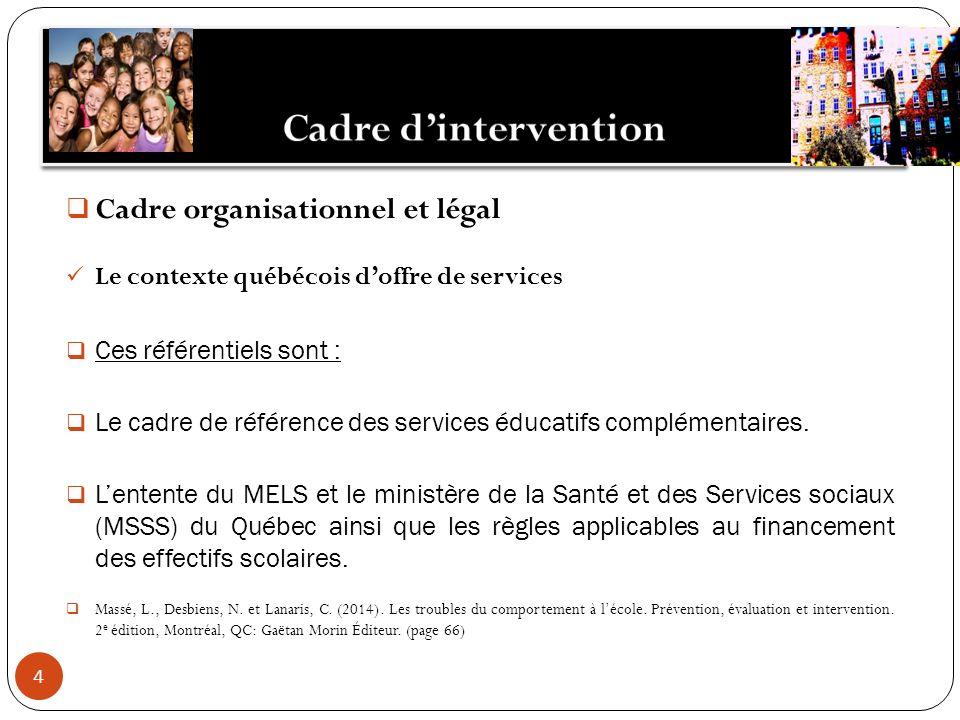 4 Cadre organisationnel et légal Le contexte québécois doffre de services Ces référentiels sont : Le cadre de référence des services éducatifs complém