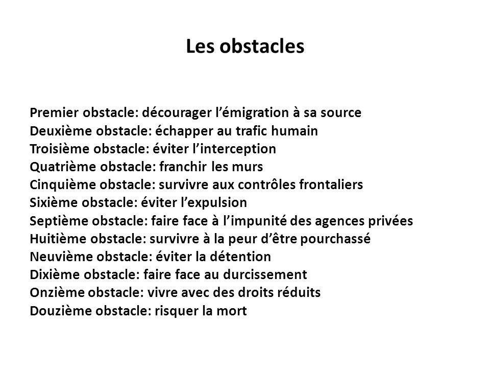 Les obstacles Premier obstacle: décourager lémigration à sa source Deuxième obstacle: échapper au trafic humain Troisième obstacle: éviter lintercepti