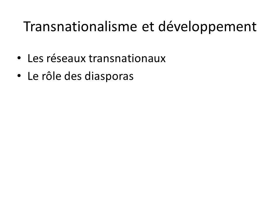 Transnationalisme et développement Les réseaux transnationaux Le rôle des diasporas