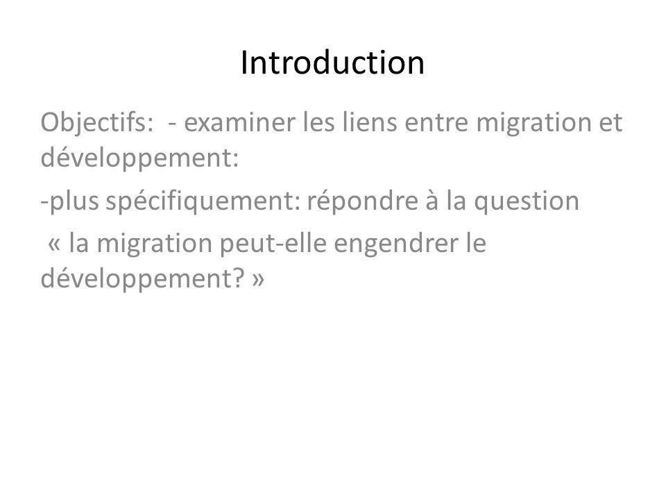 Introduction Objectifs: - examiner les liens entre migration et développement: -plus spécifiquement: répondre à la question « la migration peut-elle e