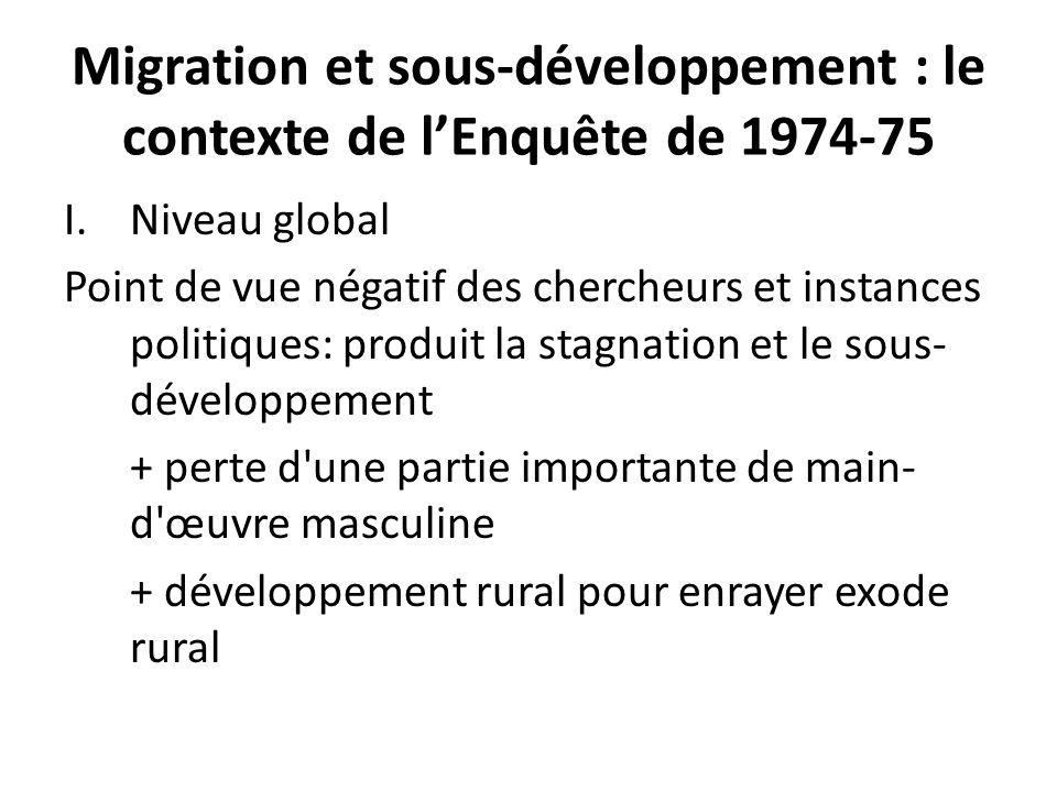 Migration et sous-développement : le contexte de lEnquête de 1974-75 I.Niveau global Point de vue négatif des chercheurs et instances politiques: prod