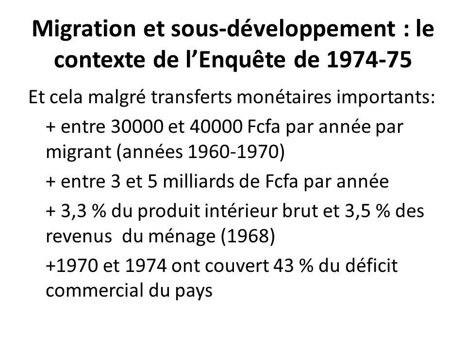 Migration et sous-développement : le contexte de lEnquête de 1974-75 Et cela malgré transferts monétaires importants: + entre 30000 et 40000 Fcfa par