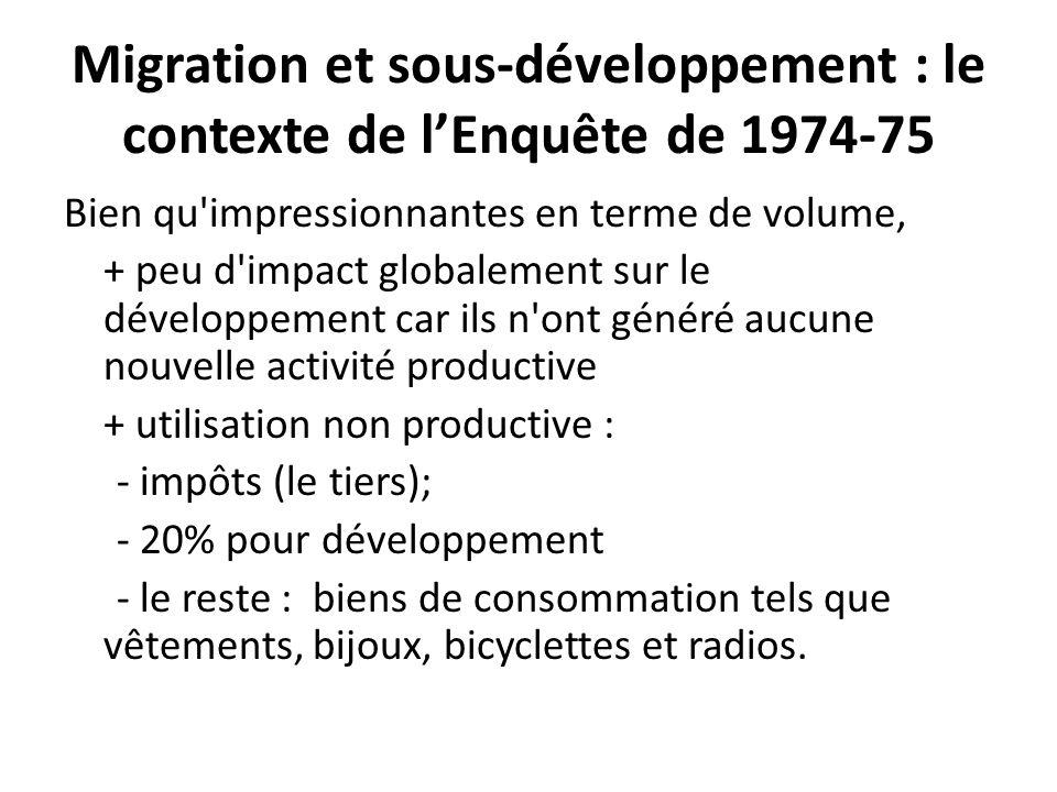 Migration et sous-développement : le contexte de lEnquête de 1974-75 Bien qu'impressionnantes en terme de volume, + peu d'impact globalement sur le dé