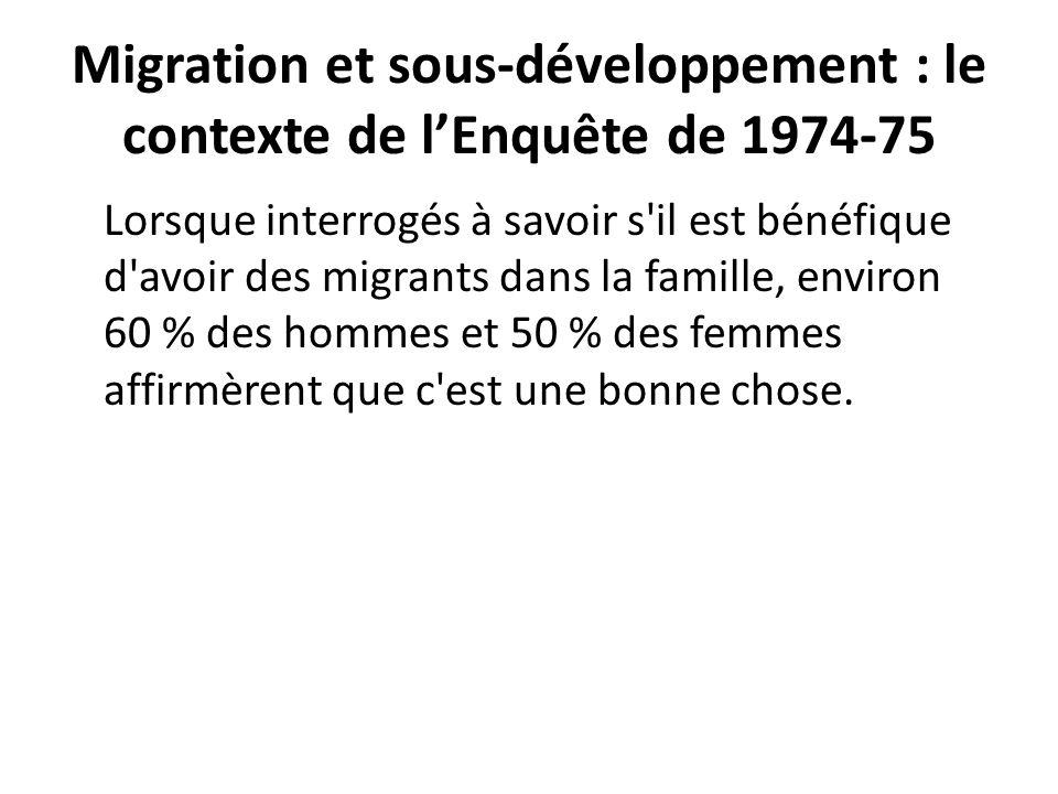 Migration et sous-développement : le contexte de lEnquête de 1974-75 Lorsque interrogés à savoir s'il est bénéfique d'avoir des migrants dans la famil