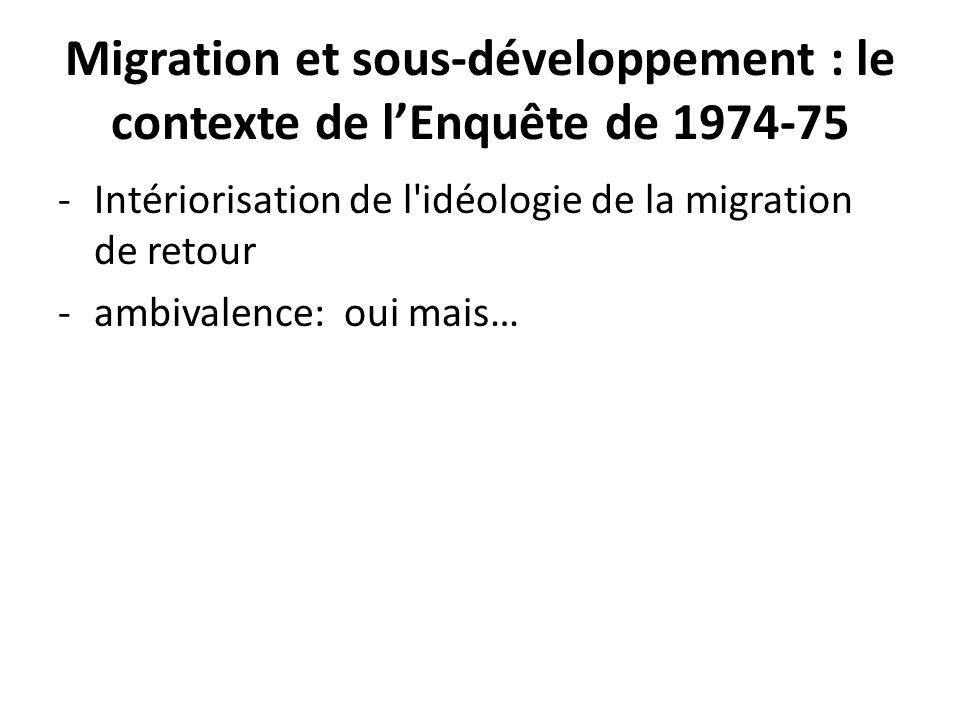 Migration et sous-développement : le contexte de lEnquête de 1974-75 -Intériorisation de l'idéologie de la migration de retour -ambivalence: oui mais…
