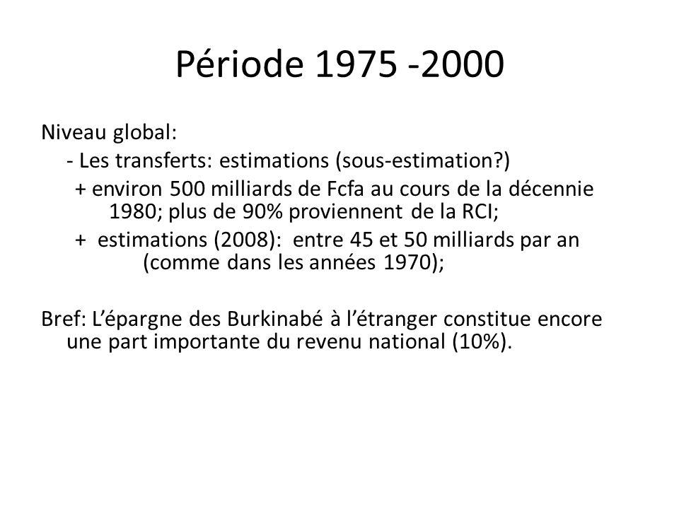 Période 1975 -2000 Niveau global: - Les transferts: estimations (sous-estimation?) + environ 500 milliards de Fcfa au cours de la décennie 1980; plus