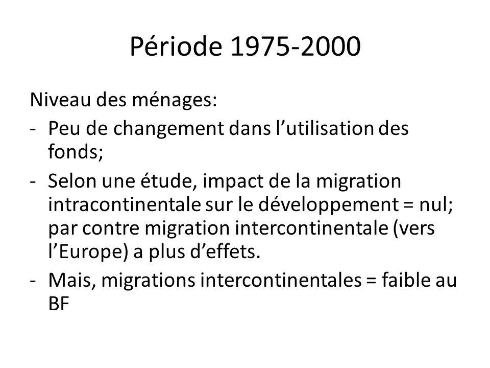 Période 1975-2000 Niveau des ménages: -Peu de changement dans lutilisation des fonds; -Selon une étude, impact de la migration intracontinentale sur l