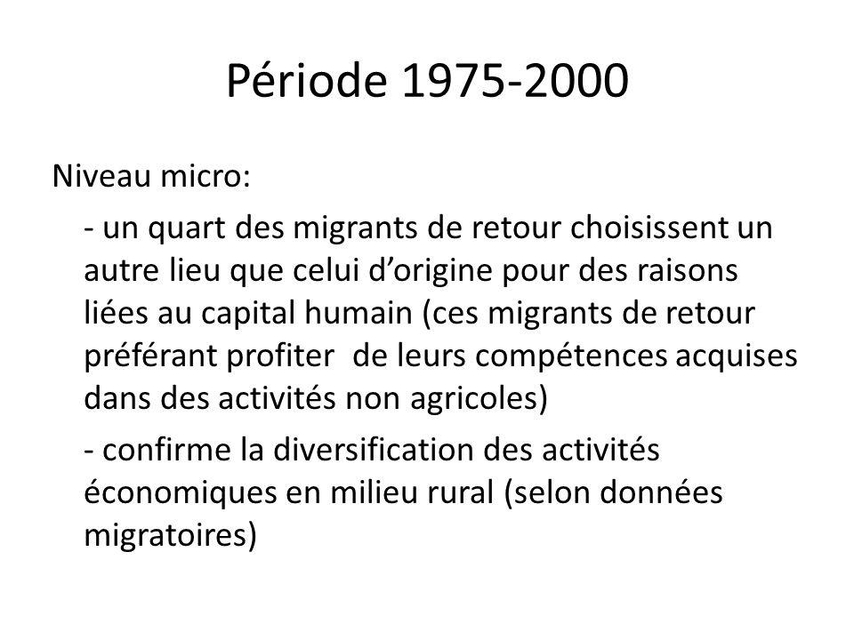 Période 1975-2000 Niveau micro: - un quart des migrants de retour choisissent un autre lieu que celui dorigine pour des raisons liées au capital humai