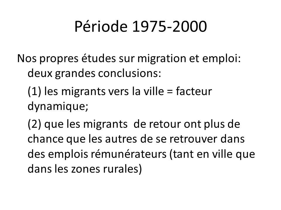 Période 1975-2000 Nos propres études sur migration et emploi: deux grandes conclusions: (1) les migrants vers la ville = facteur dynamique; (2) que le