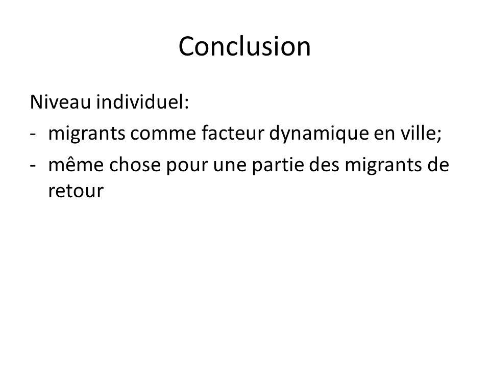 Conclusion Niveau individuel: -migrants comme facteur dynamique en ville; -même chose pour une partie des migrants de retour