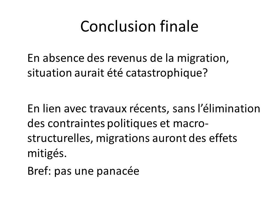 Conclusion finale En absence des revenus de la migration, situation aurait été catastrophique? En lien avec travaux récents, sans lélimination des con