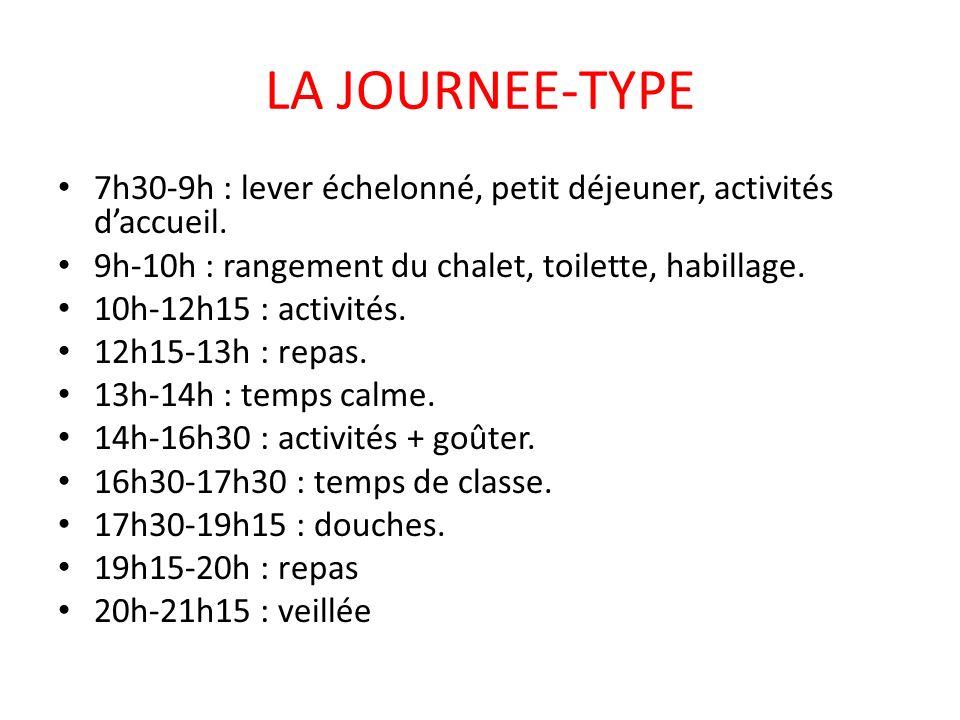 LA JOURNEE-TYPE 7h30-9h : lever échelonné, petit déjeuner, activités daccueil. 9h-10h : rangement du chalet, toilette, habillage. 10h-12h15 : activité